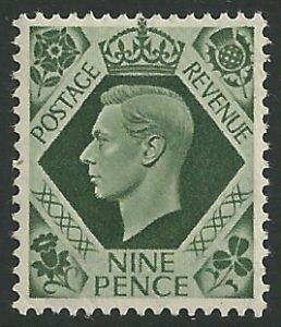 SG473 9d Deep Olive Green Unmounted Mint (George VI 1937 Definitive Stamps)